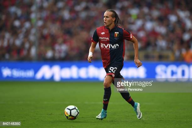 Diego Laxalt of Genoa CFC in action during the Serie A match between Genoa CFC and Juventus at Stadio Luigi Ferraris on August 26 2017 in Genoa Italy