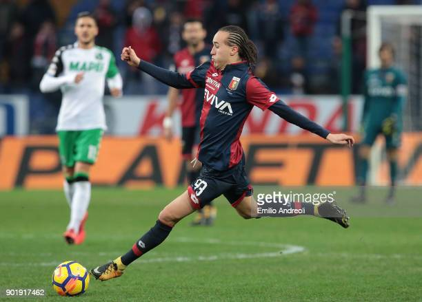 Diego Laxalt of Genoa CFC in action during the serie A match between Genoa CFC and US Sassuolo at Stadio Luigi Ferraris on January 6 2018 in Genoa...