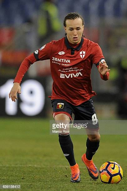 Diego Laxalt of Genoa CFC in action during the TIM Cup match between SS Lazio and Genoa CFC at Olimpico Stadium on January 18 2017 in Rome Italy