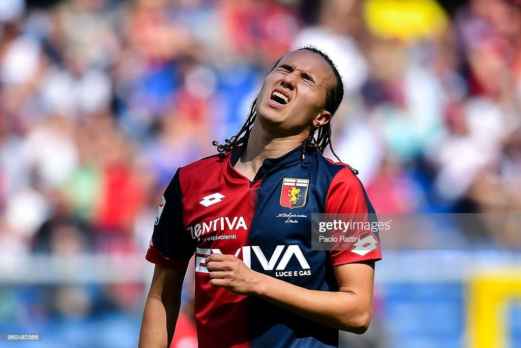Diego Laxalt of Genoa reacts with disappointment after a missed chance during the serie A match between Genoa CFC and Torino FC at Stadio Luigi Ferraris on May 20, 2018 in Genoa, Italy.
