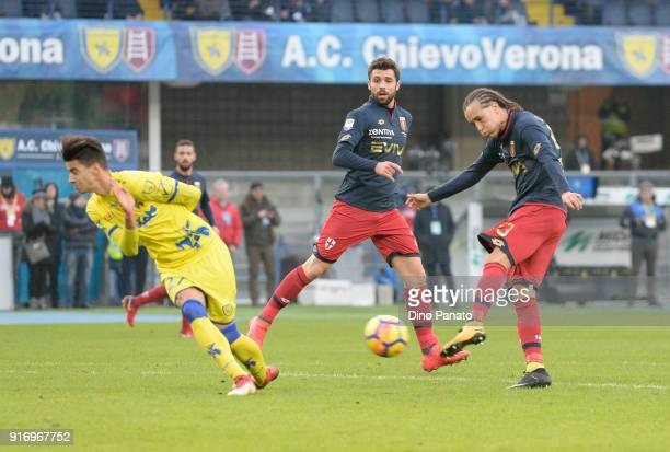 Diego Laxalt of Genoa scoring his opening goal during the serie A match between AC Chievo Verona and Genoa CFC at Stadio Marc'Antonio Bentegodi on...