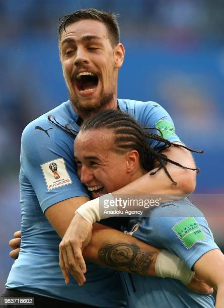 Diego Laxalt of Uruguay celebrates after scoring a goal with his team mate during the 2018 FIFA World Cup Russia Group A match between Uruguay and...