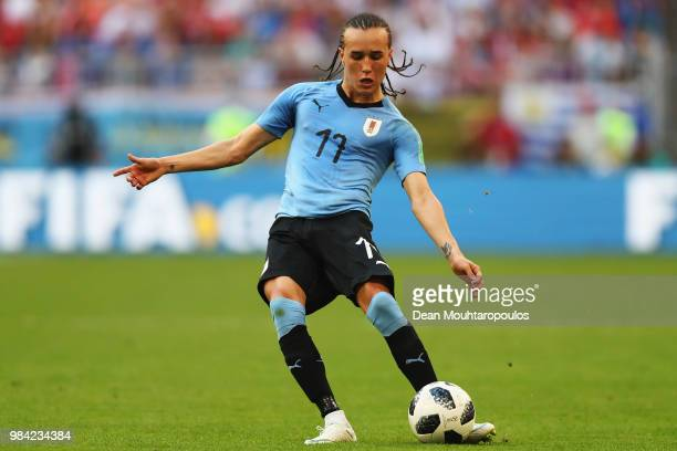 Diego Laxalt of Uruguay in action during the 2018 FIFA World Cup Russia group A match between Uruguay and Russia at Samara Arena on June 25 2018 in...