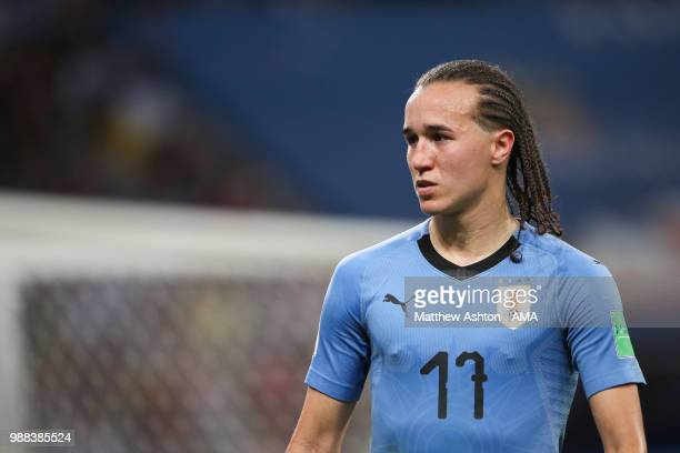 Diego Laxalt of Uruguay in action during the 2018 FIFA World Cup Russia Round of 16 match between Uruguay and Portugal at Fisht Stadium on June 30...