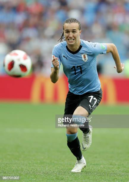 Diego Laxalt of Uruguay runs off the ball during the 2018 FIFA World Cup Russia Quarter Final match between Uruguay and France at Nizhny Novgorod...