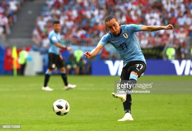Diego Laxalt of Uruguay scores his team's second goal during the 2018 FIFA World Cup Russia group A match between Uruguay and Russia at Samara Arena...
