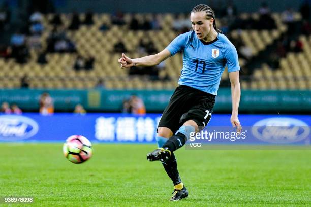Diego Laxalt of Uruguay shoots the ball during the 2018 China Cup International Football Championship match between Uruguay and Czech Republic at...