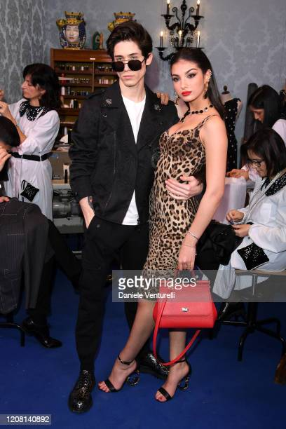 Diego Lazzari and Elisa Maino attend the runway at the Dolce & Gabbana fashion show on February 23, 2020 in Milan, Italy.