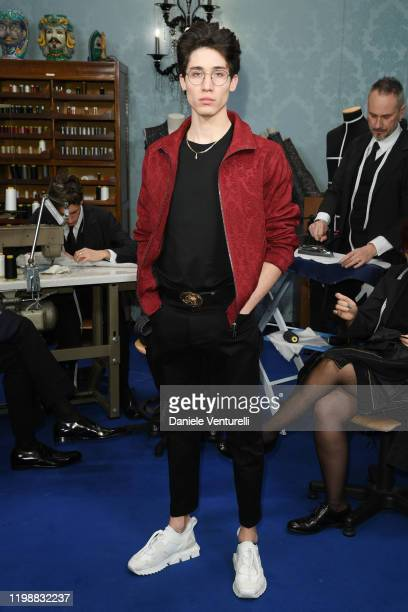 Diego Lazzari is seen at Dolce & Gabbana Front Row during Milan Men's Fashion Week Fall/Winter 2020/2021 on January 11, 2020 in Milan, Italy.