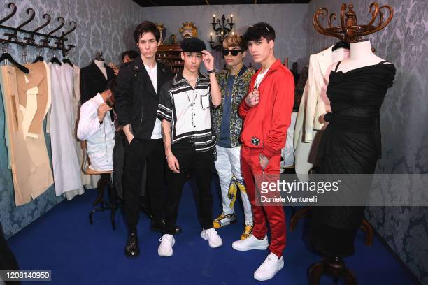 Diego Lazzari, Tancredi Galli, Lele Giaccari and Gianmarco Rottaro attend the runway at the Dolce & Gabbana fashion show on February 23, 2020 in...