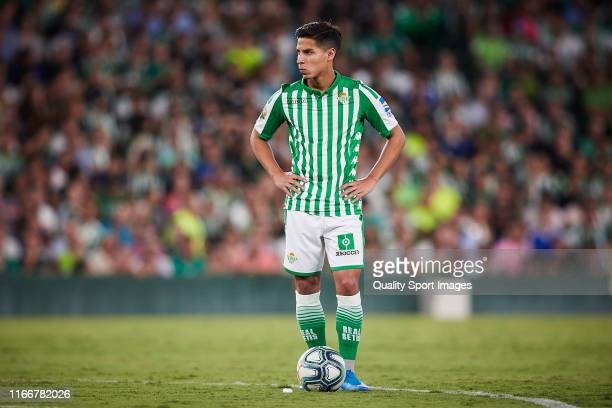 Diego Lianez of Real Betis looks on during a pre season friendly match between Real Betis and Las Palmas at Estadio Benito Villamarin on August 07...