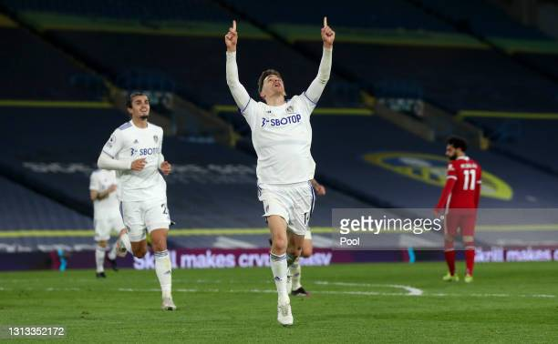 Diego Llorente of Leeds United celebrates after scoring his team's first goal during the Premier League match between Leeds United and Liverpool at...