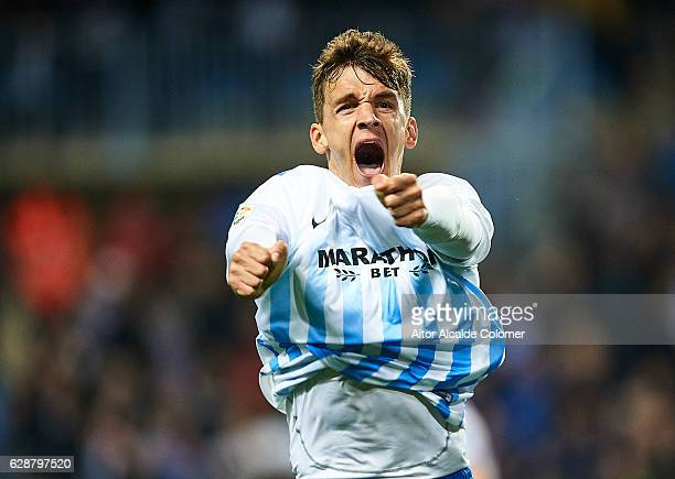 Diego Llorente of Malaga CF celebrates after scoring a goal wich was later disallowed for offside during La Liga match between Malaga CF and Granada...