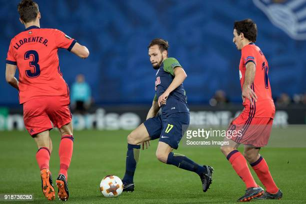 Diego Llorente of Real Sociedad Andreas Ulmer of Red Bull Salzburg Mikel Oyarzabal of Real Sociedad during the UEFA Europa League match between Real...