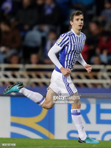 Diego Llorente of Real Sociedad during the La Liga Santander match between Real Sociedad v FC Barcelona at the Estadio Anoeta on January 14 2018 in...