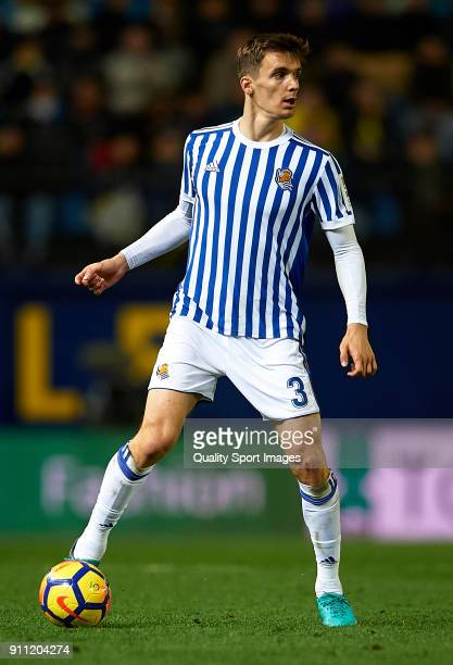 Diego Llorente of Real Sociedad in action during the La Liga match between Villarreal and Real Sociedad at Estadio de La Ceramica on January 27 2018...