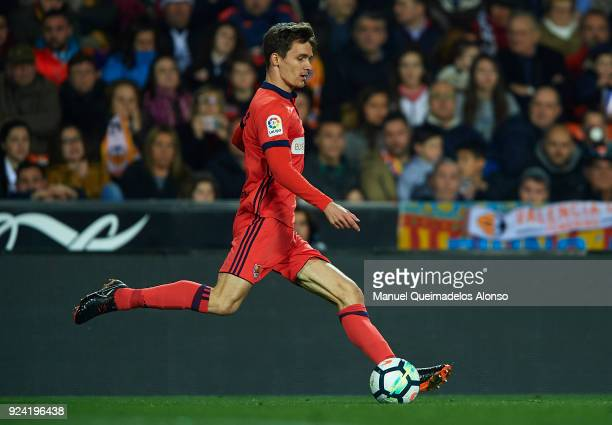 Diego Llorente of Real Sociedad in action during the La Liga match between Valencia CF and Real Sociedad at Mestalla Stadium on February 25 2018 in...