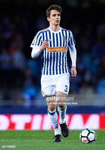 Diego Llorente of Real Sociedad in action during the La Liga match between Real Sociedad and Deportivo Alaves at Estadio de Anoeta on March 4 2018 in...