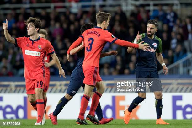 Diego Llorente of Real Sociedad Moanes Dabour of Red Bull Salzburg during the UEFA Europa League match between Real Sociedad v Salzburg at the...
