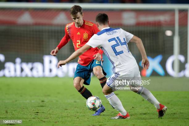 Diego Llorente of Spain Amer Gojak of Bosnia and Herzegovina during the UEFA Nations league match between Spain v Bosnia and Herzegovina at the...