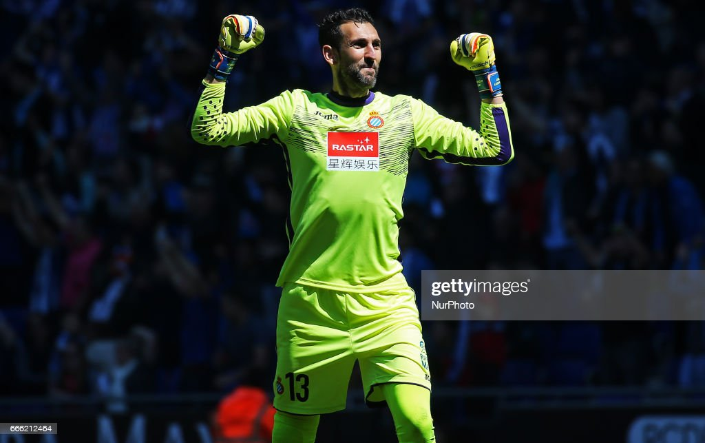 Diego Lopez celebration during the match between RCD Espanyol and Deportivo Alaves, on April 08, 2017.