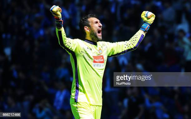 Diego Lopez celebration during the match between RCD Espanyol and Deportivo Alaves on April 08 2017