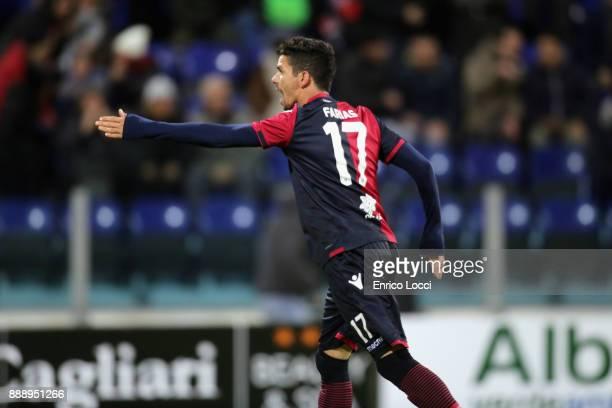 Diego Lopez of Cagliari celebrates his goal 12 during the Serie A match between Cagliari Calcio and UC Sampdoria at Stadio Sant'Elia on December 9...