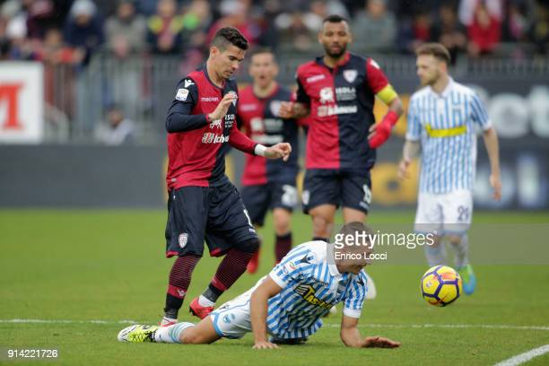 Diego Lopez of Cagliari in action during the serie A match between Cagliari Calcio and Spal at Stadio Sant'Elia on February 4 2018 in Cagliari Italy