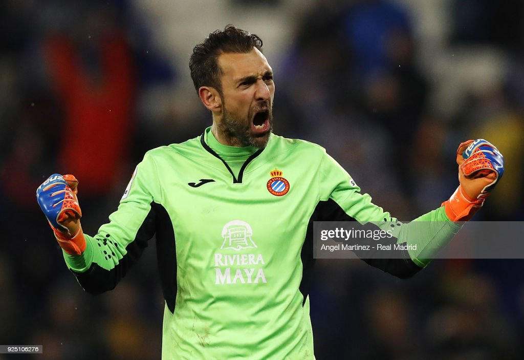 Diego Lopez of Espanayol celebrates after the La Liga match between Espanyol and Real Madrid at RCDE Stadium on February 27, 2018 in Barcelona, Spain.