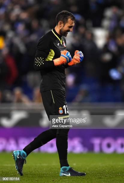 Diego Lopez of Espanyol celebrates their first goal during the Spanish Copa del Rey Quarter Final First Leg match between Espanyol and Barcelona at...