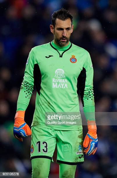 Diego Lopez of Espanyol looks on during the La Liga match between Espanyol and Real Madrid at Estadio de CornellaEl Prat on February 27 2018 in...