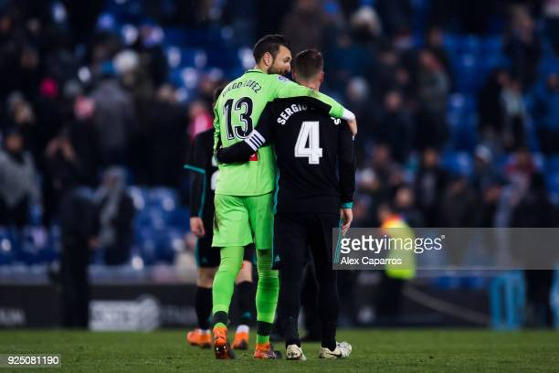 Diego Lopez of RCD Espanyol and Sergio Ramos of Real Madrid CF embrace after the La Liga match between Espanyol and Real Madrid at RCDE Stadium on...