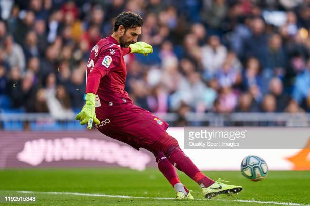 Diego Lopez of RCD Espanyol in action during the Liga match between Real Madrid CF and RCD Espanyol at Estadio Santiago Bernabeu on December 07 2019...