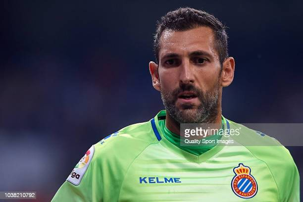 Diego Lopez of RCD Espanyol looks on during the La Liga match between Real Madrid CF and RCD Espanyol at Estadio Santiago Bernabeu on September 22...