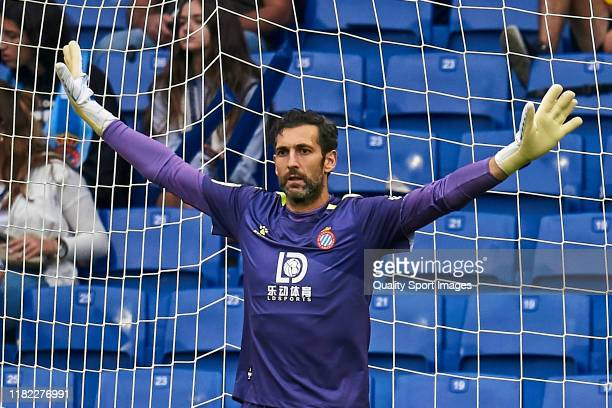 Diego Lopez of RCD Espanyol looks on during the Liga match between RCD Espanyol and Villarreal CF at RCDE Stadium on October 20 2019 in Barcelona...