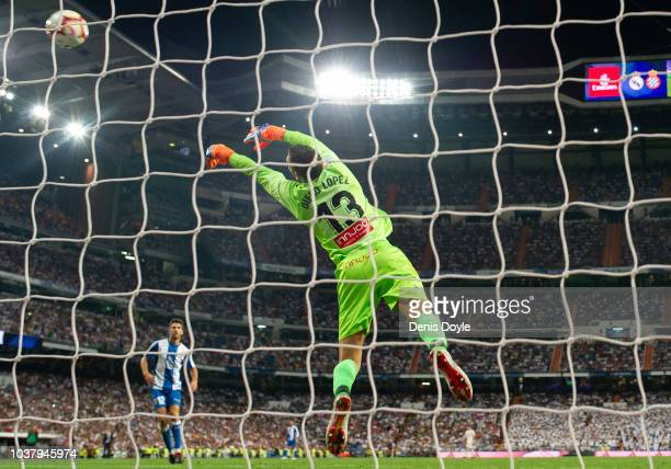 Diego Lopez of RCD Espanyol makes a save during the La Liga match between Real Madrid CF and RCD Espanyol at Estadio Santiago Bernabeu on September...