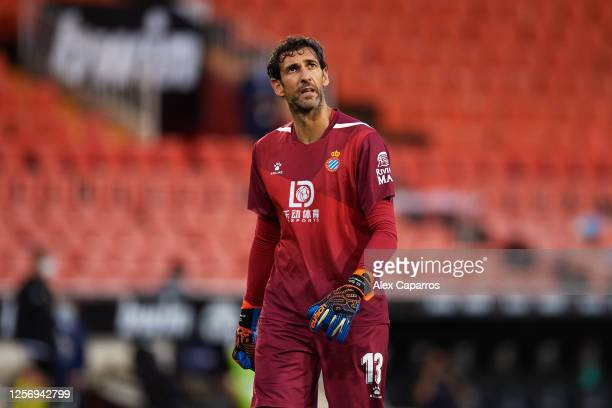 Diego Lopez of RCD Espanyol shows his dejection after first Valencia CF goal during the Liga match between Valencia CF and RCD Espanyol at Estadio...