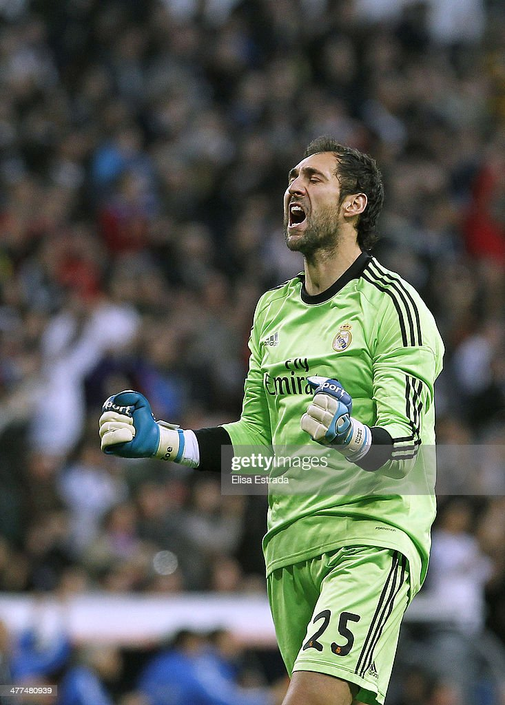 Diego Lopez of Real Madrid celebrates the first goal of his team during the La Liga match between Real Madrid and Levante UD at Estadio Santiago Bernabeu on March 9, 2014 in Madrid, Spain.