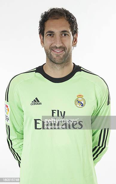 Diego Lopez of Real Madrid poses during the official team photo session at Valdebebas training ground on September 13 2013 in Madrid Spain