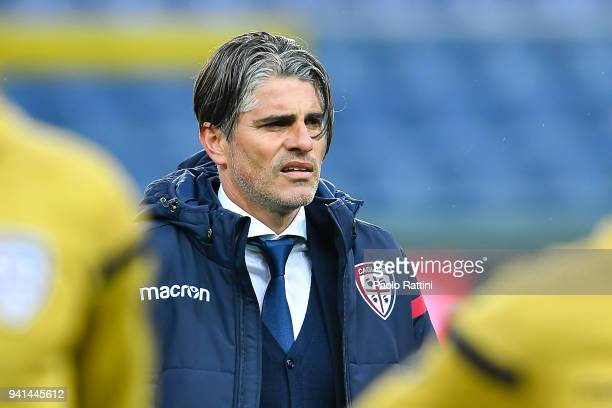 Diego Luis Lopez coach of Cagliari looks on before the serie A match betweenGenoa CFC and Cagliari Calcio at Stadio Luigi Ferraris on April 3 2018 in...