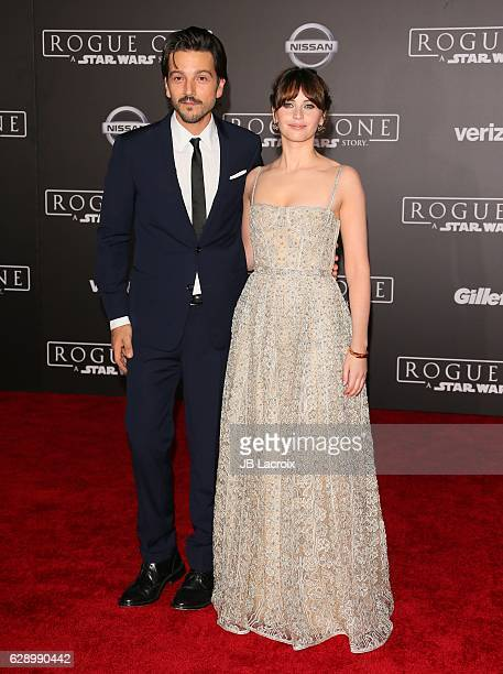 Diego Luna and Felicity Jones attend the Premiere of Walt Disney Pictures and Lucasfilm's 'Rogue One A Star Wars Story' on December 10 2016 in...