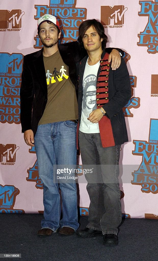 Diego Luna and Gael Garcia Bernal during 2005 MTV European Music Awards Lisbon - Press Room at Atlantic Pavillion in Lisbon, Portugal.
