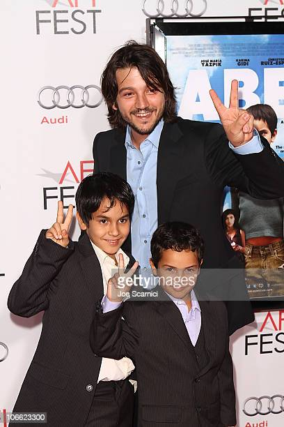Diego Luna and Gerardo RuizEsparza and Christopher RuizEsparza arrive to the AFI Fest 2010 Screening Of Abel at Grauman's Chinese Theatre on November...