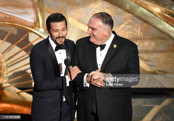 Diego Luna and José Andrés speak onstage during the 91st Annual Academy Awards at Dolby Theatre on February 24 2019 in Hollywood California