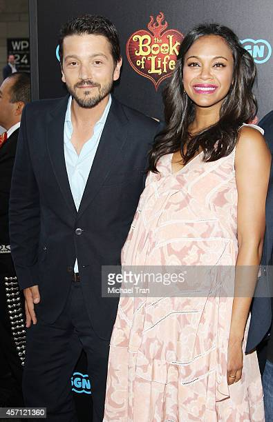 "Diego Luna and Zoe Saldana arrive at the Los Angeles premiere of ""Book Of Life"" held at Regal Cinemas L.A. Live on October 12, 2014 in Los Angeles,..."