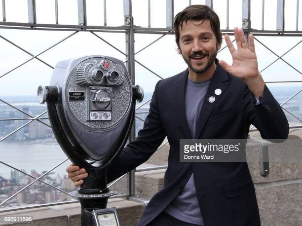 Diego Luna appears to light the Empire State Building in honor of World Oceans Day at The Empire State Building on June 8 2017 in New York City