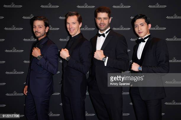 Diego Luna Benedict Cumberbatch Geoffroy Lefebvre and Jing Boran attend JaegerLeCoultre Polaris Gala Evening at the SIHH 2018 at Pavillon Sicli on...