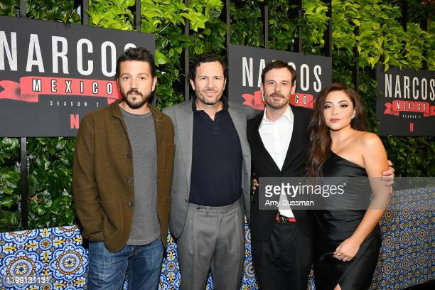 Diego Luna Eric Newman Scoot McNairy and Teresa Ruiz attend the premiere of Netflix's Narcos Mexico Season 2 at Netflix Home Theater on February 6...