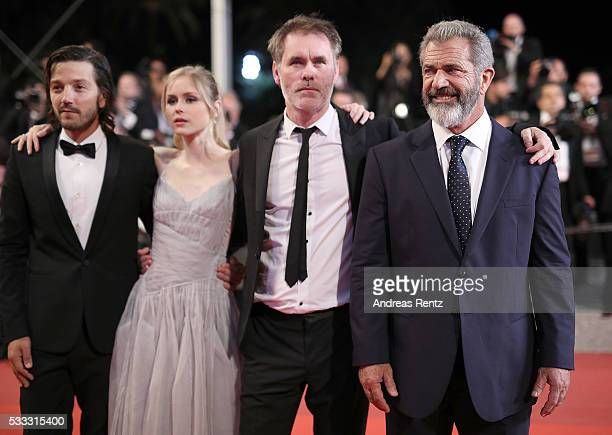 Diego Luna Erin Moriarty JeanFrancois Richet and Mel Gibson attend the screening of 'Blood Father' at the annual 69th Cannes Film Festival at Palais...