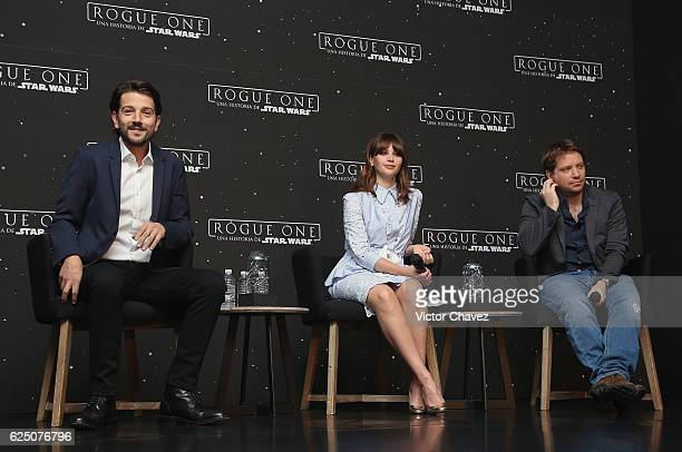 Diego Luna Felicity Jones and film director Gareth Edwards attend a press conference to promote the film Rogue One A Star Wars Story at St Regis...